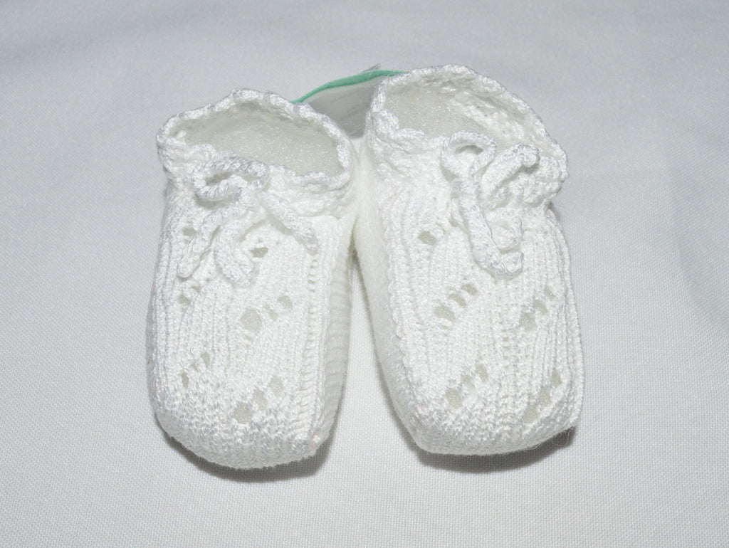 White Mercerized Cotton Baby Booties - Little Threads Inc. Children's Clothing