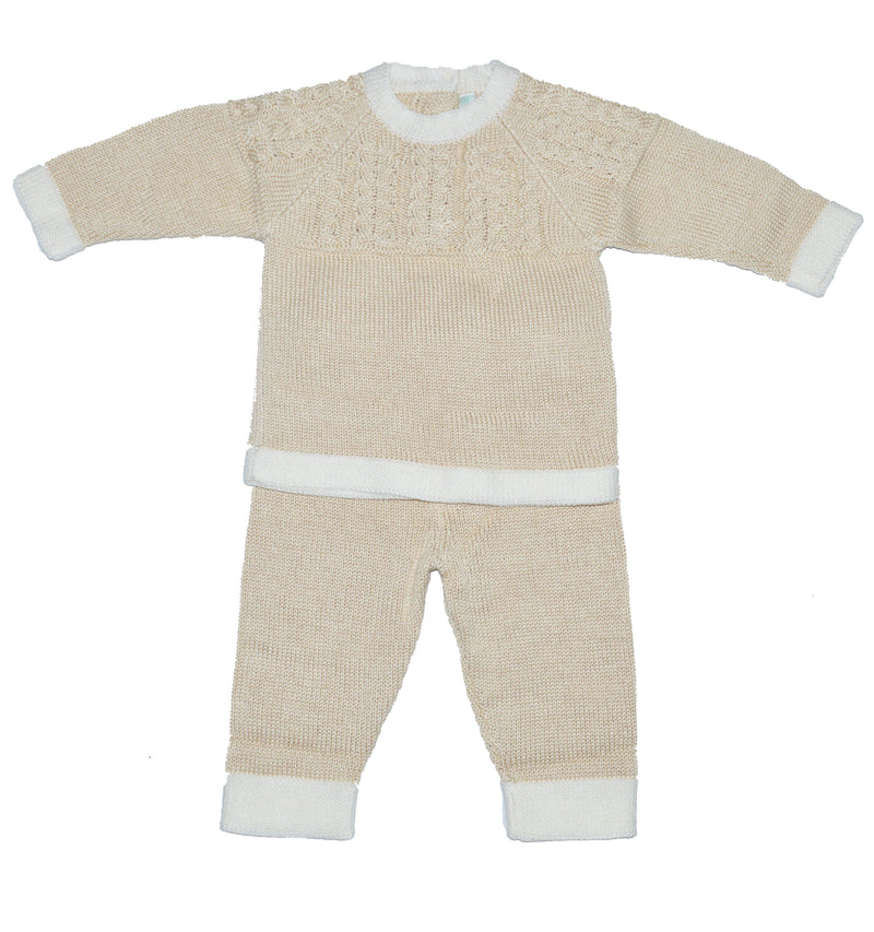 Baby Threads Ecru Knitted Mercerized Cotton Pant Set