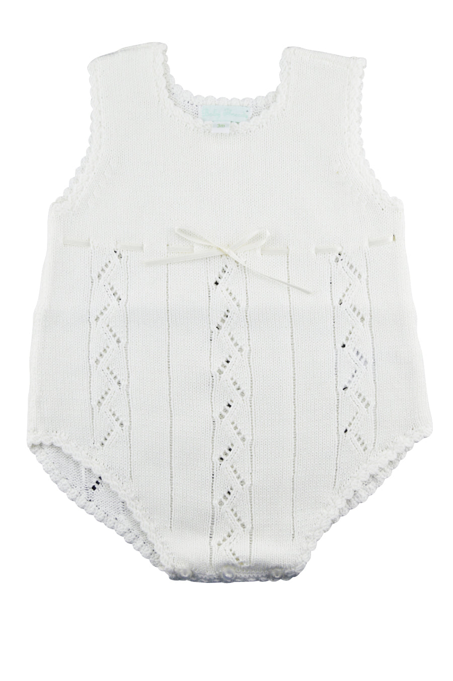 White Pima Cotton Knitted Baby Romper
