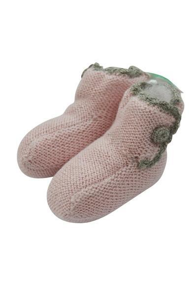 Pink Baby Alpaca Booties with Grey Crochet Trim - Little Threads Inc. Children's Clothing