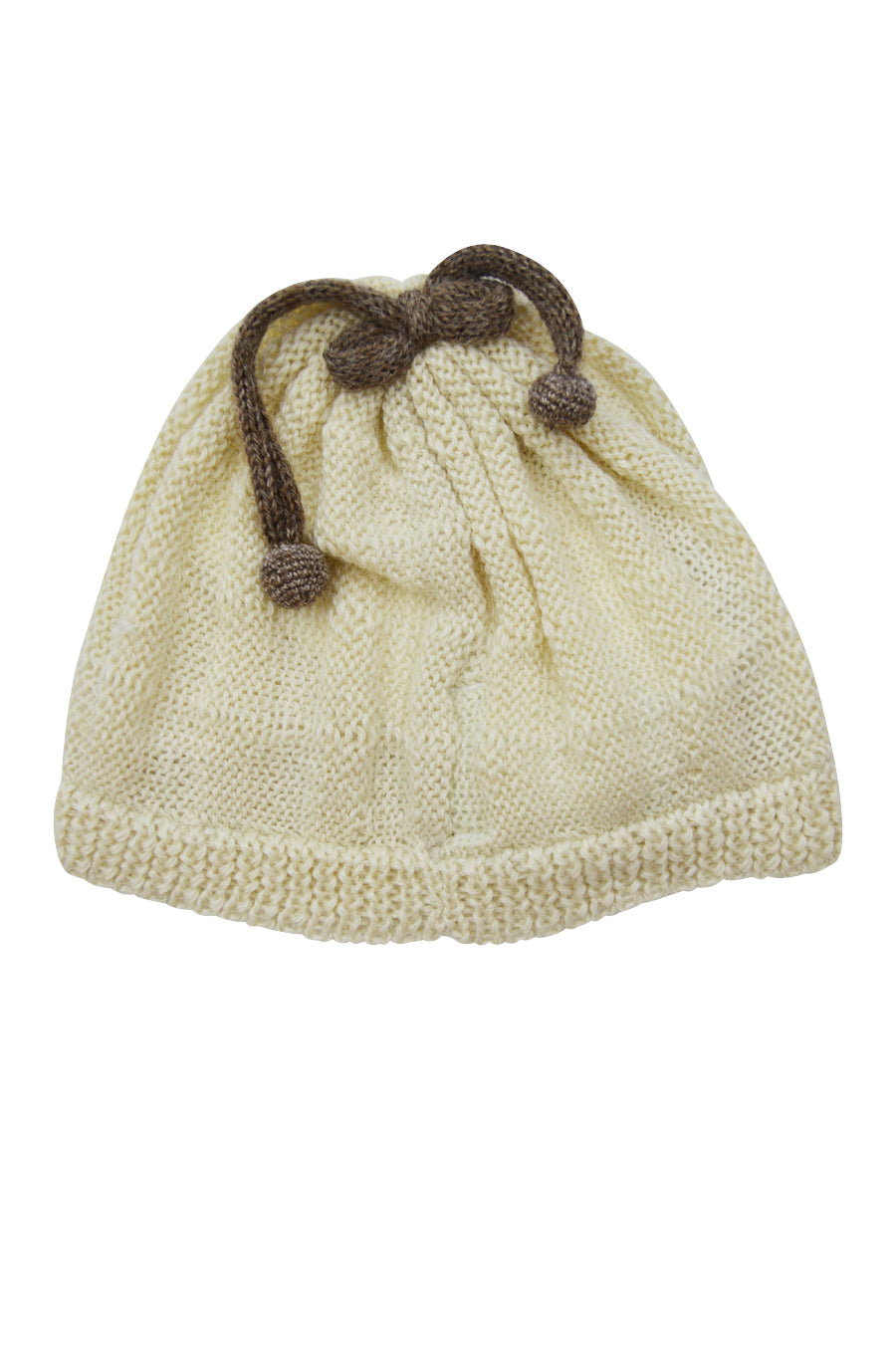 Ivory Baby Alpaca Hat with Chocolate Brown Pom Pom - Little Threads Inc. Children's Clothing