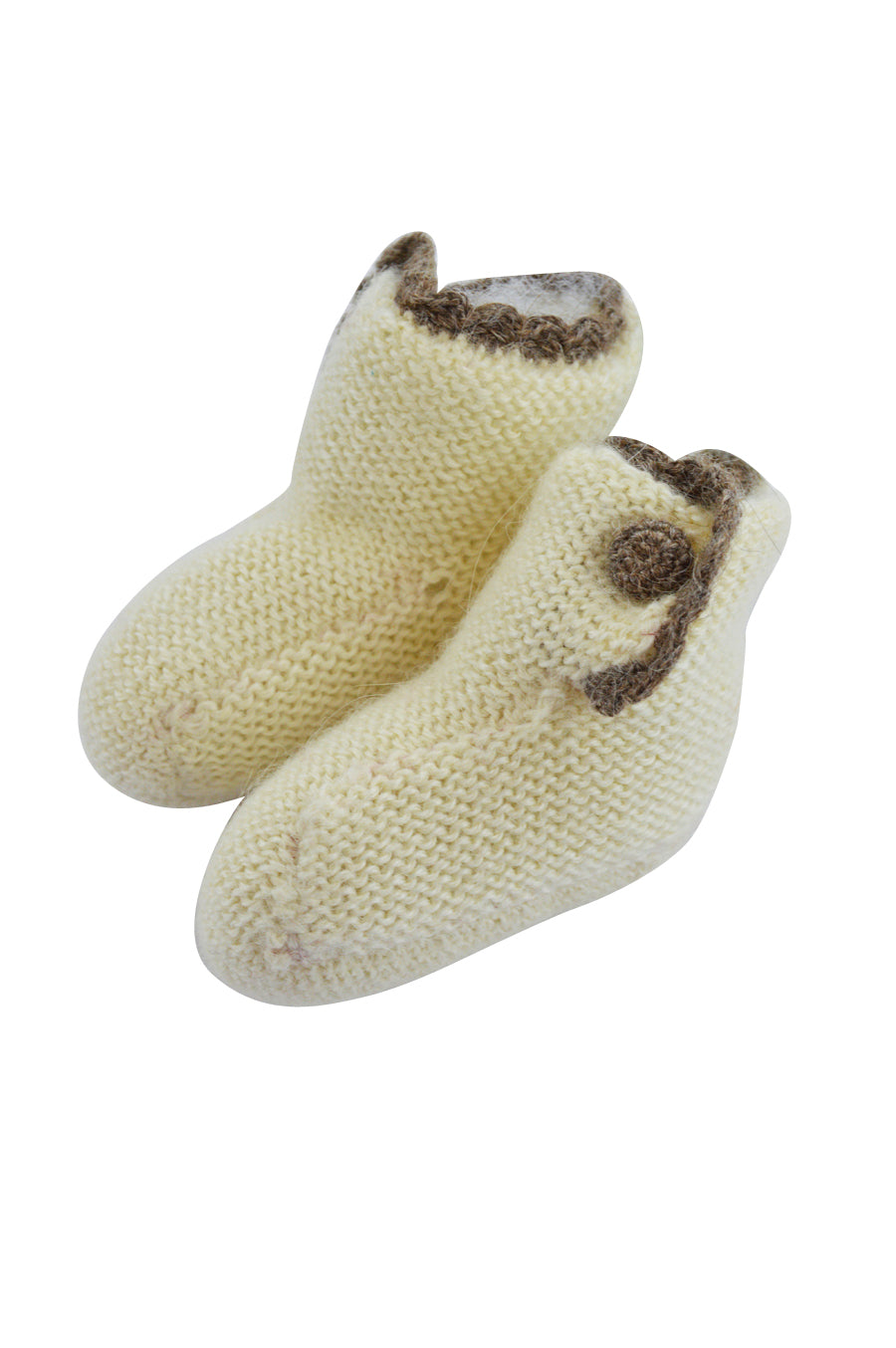 Ivory Baby Alpaca Booties with Brown Trim - Little Threads Inc. Children's Clothing