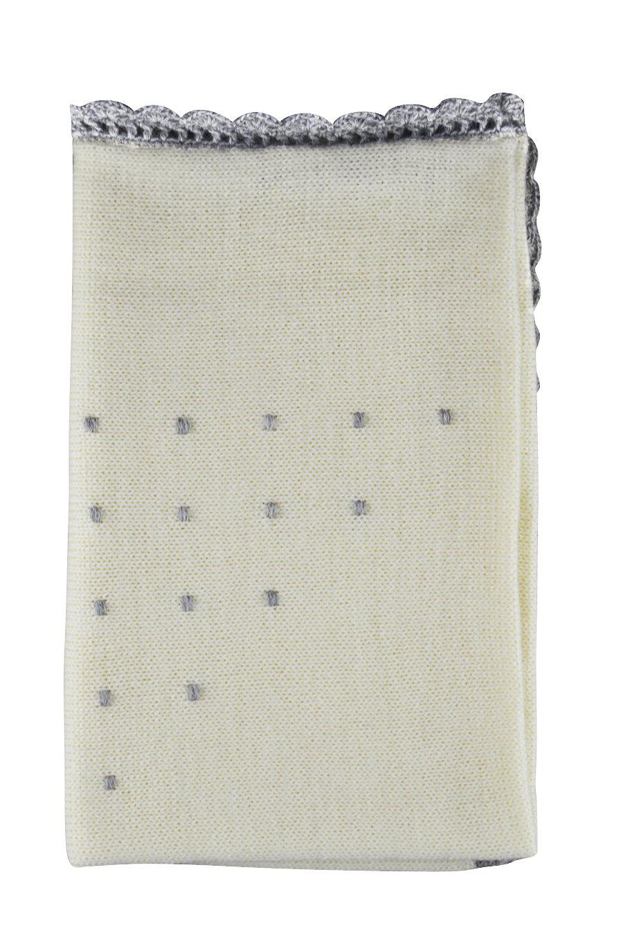 Ivory Alpaca Blanket with Grey Dots - Little Threads Inc. Children's Clothing