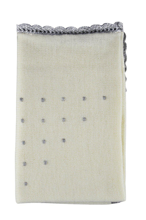 Ivory Alpaca Blanket with Grey Dots