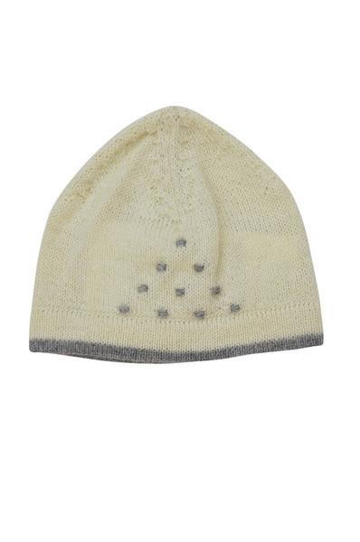 Ivory Baby Alpaca Hat with Grey Trim - Little Threads Inc. Children's Clothing