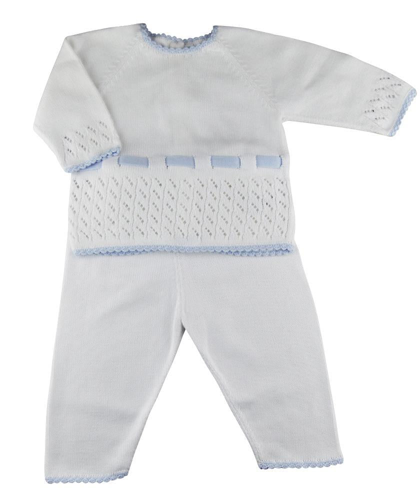 Baby Threads White and Blue Pima Cotton Baby Boy's Pant set - Little Threads Inc. Children's Clothing