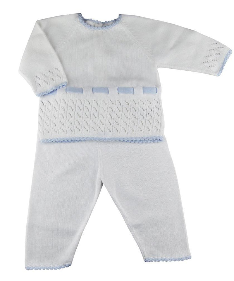 Baby Threads White and Blue Pima Cotton Baby Boy's Pant set