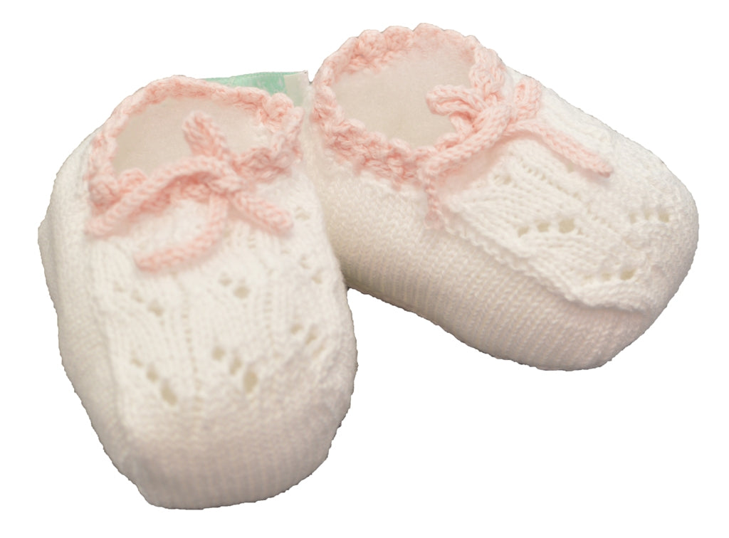 Pink Knit Booties - Little Threads Inc. Children's Clothing