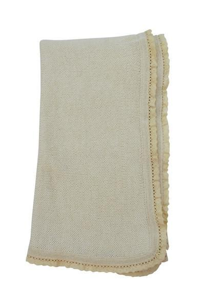 Ivory Baby Alpaca Blanket with Ivory Trim - Little Threads Inc. Children's Clothing