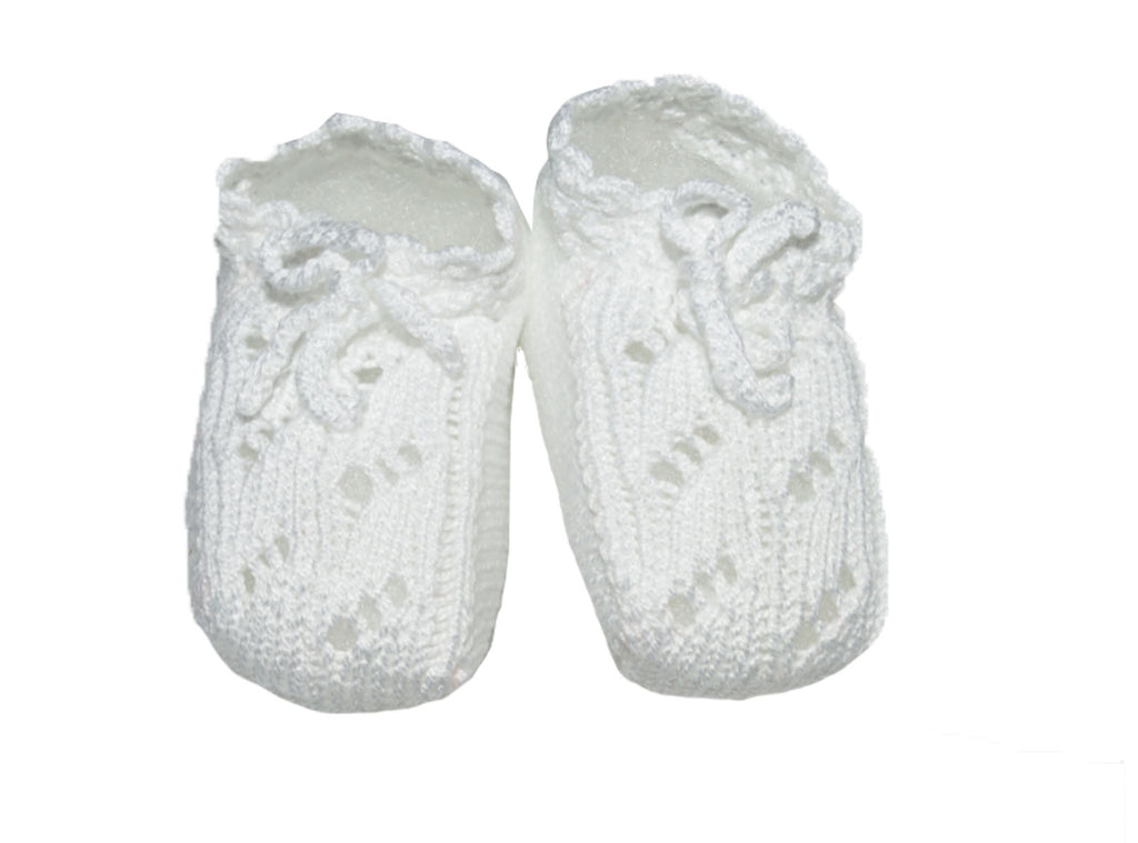 Unisex White Knit Booties - Little Threads Inc. Children's Clothing
