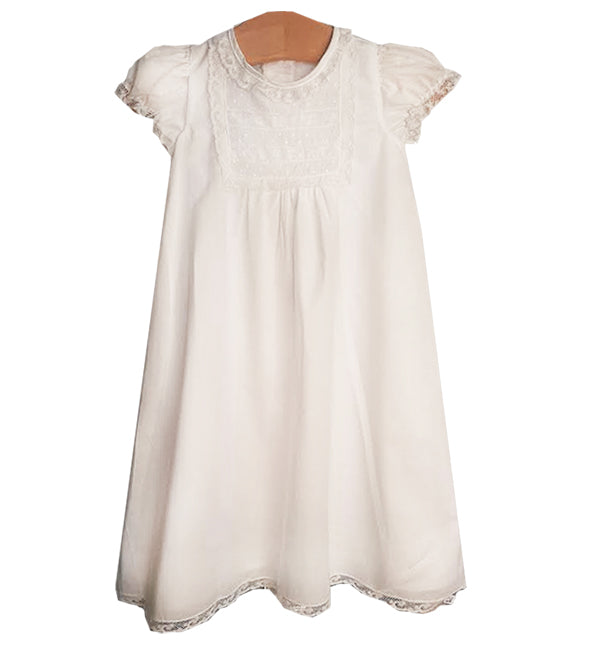 White batiste Baby Girl daygown with bonnet - Little Threads Inc. Children's Clothing