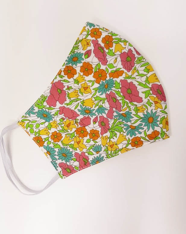 Daysy and Poppy 2  Liberty of London print  mask - Little Threads Inc. Children's Clothing