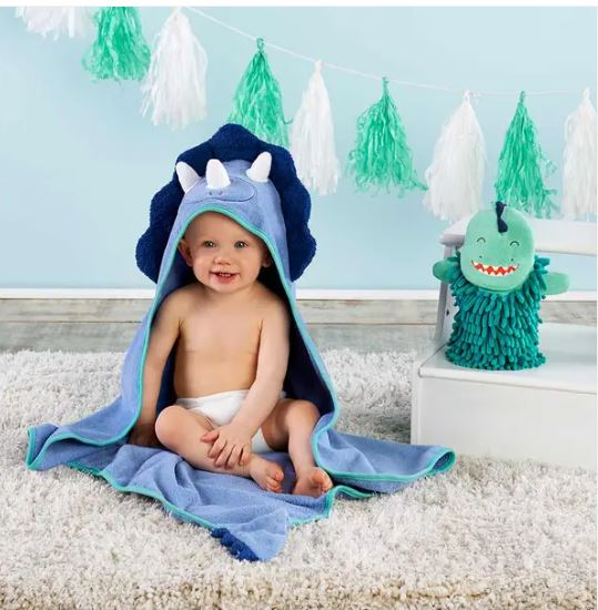 Dino baby  hooded towel and wash mitten Set - Little Threads Inc. Children's Clothing