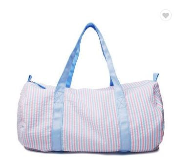 Multi color stripe Seersucker Duffle bag for monograming - Little Threads Inc. Children's Clothing