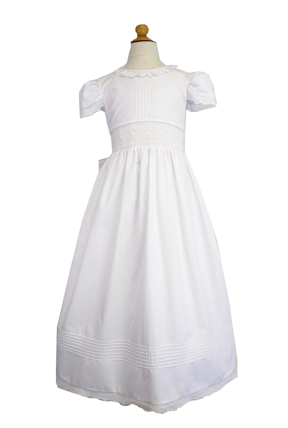 Hand Smocked First Communion Dress - Little Threads Inc. Children's Clothing