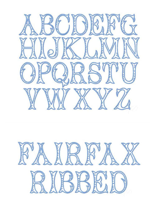 Fairfax Embroidery Font - Little Threads Inc. Children's Clothing