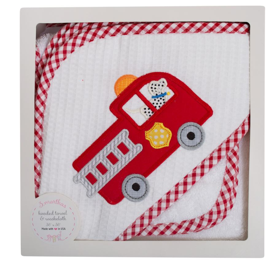 Firetruck and wash cloth baby hooded towel - Little Threads Inc. Children's Clothing