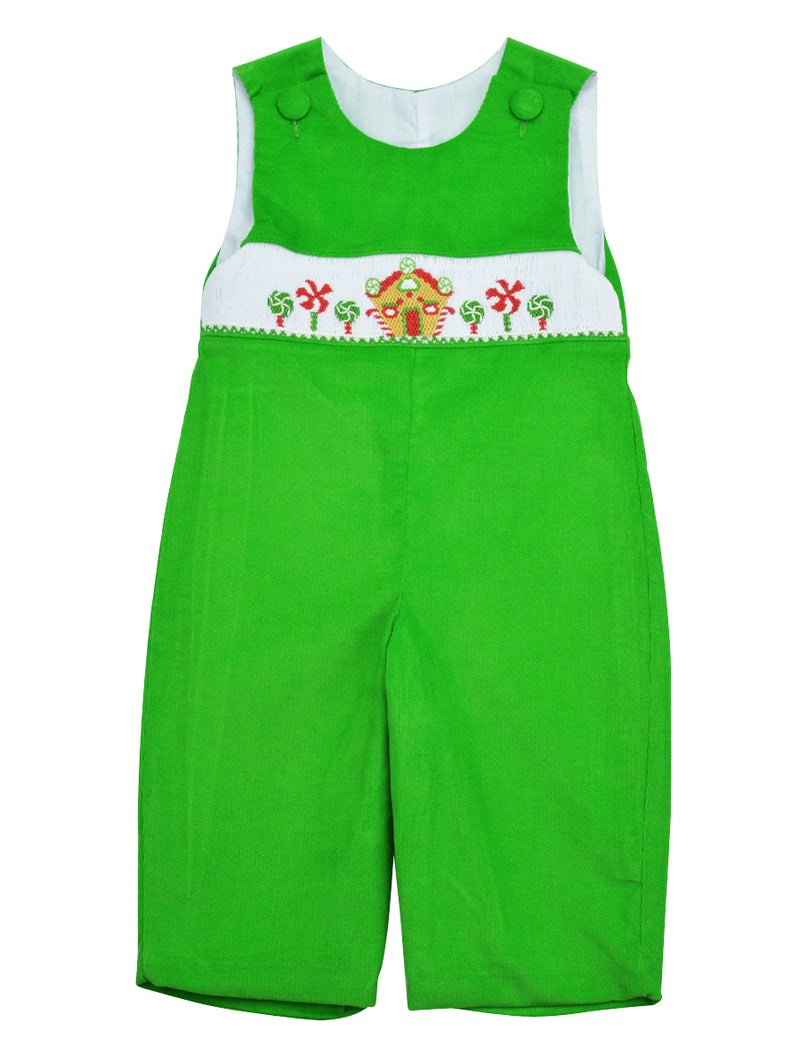 Green Cord Gingerbread Long Overall - Little Threads Inc. Children's Clothing