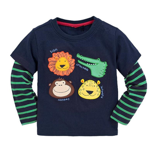 Navy Boys Long Sleeve Shirt with Animals Applique
