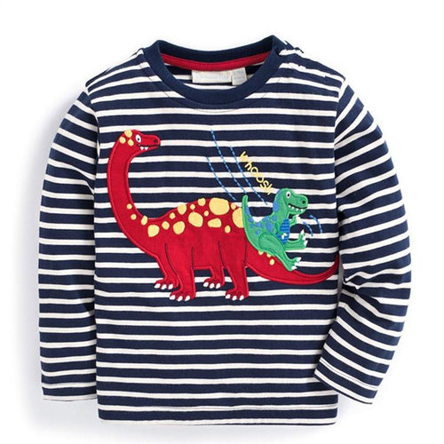 Navy/White Striped Dinosaur Applique Long Sleeve Shirt