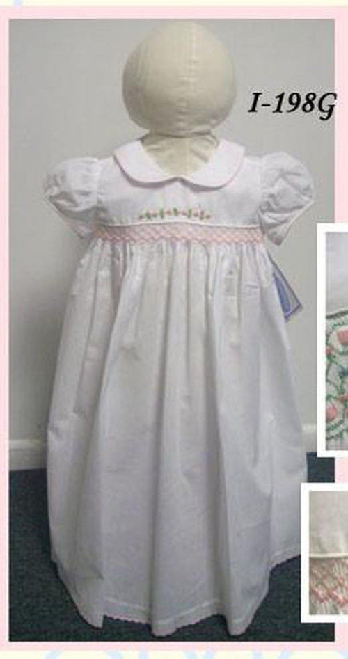 White Girls Daygown w Flowers Embroidery