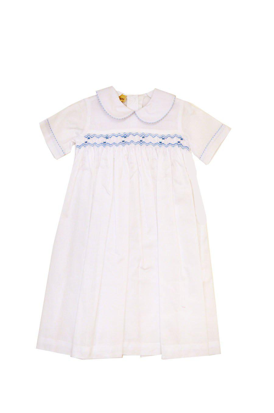 3ac6b680b06 White batiste baby boy hand smocked daygown NB only – Little Threads ...