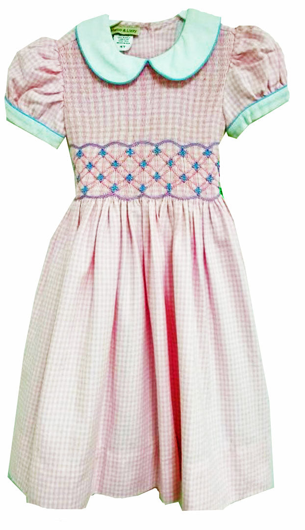 Pink Checks Hand smocked Fall  girl's dress - Little Threads Inc. Children's Clothing