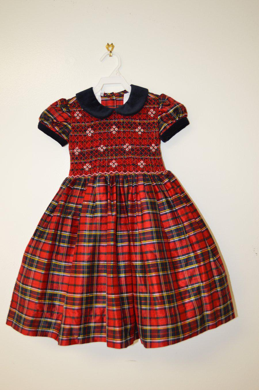 Navy/Red Plaid Smocked Dress - Little Threads Inc. Children's Clothing