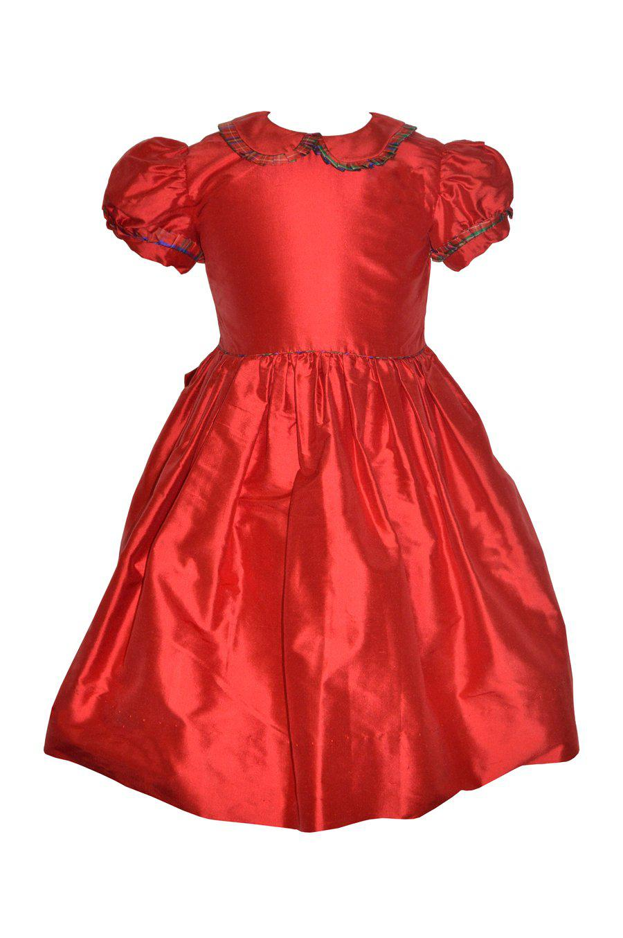 Red Girls Silk Dress - Little Threads Inc. Children's Clothing