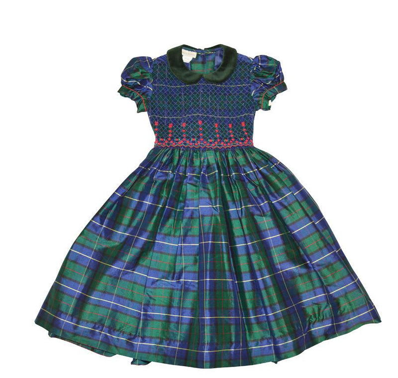 Green Plaid Smocked Dress - Little Threads Inc. Children's Clothing