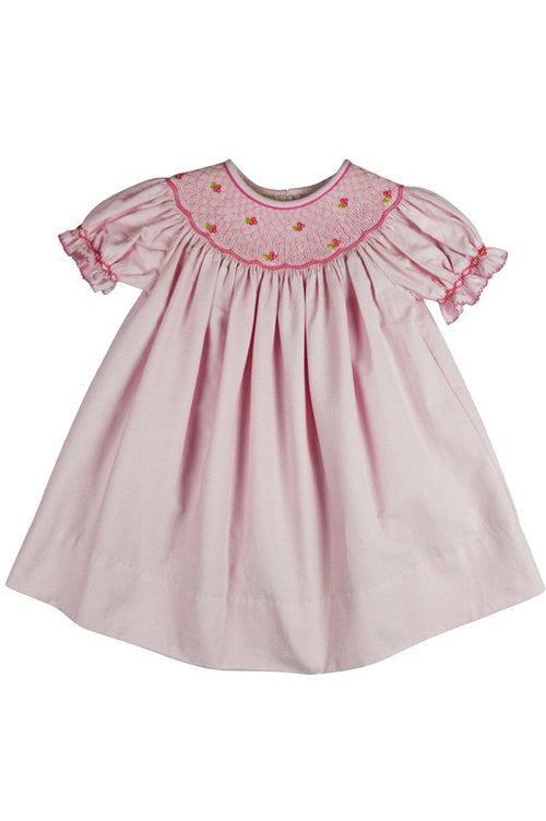 Marco and Lizzy Hand Smocked Pink Bishop Dress