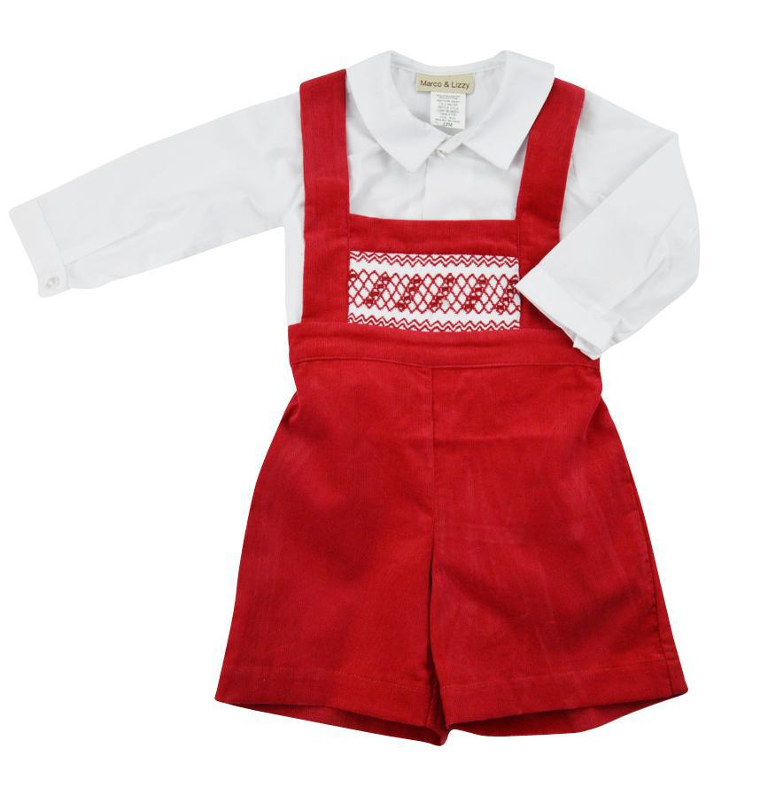 Sarah Red Corduroy Smocked Overall - Little Threads Inc. Children's Clothing