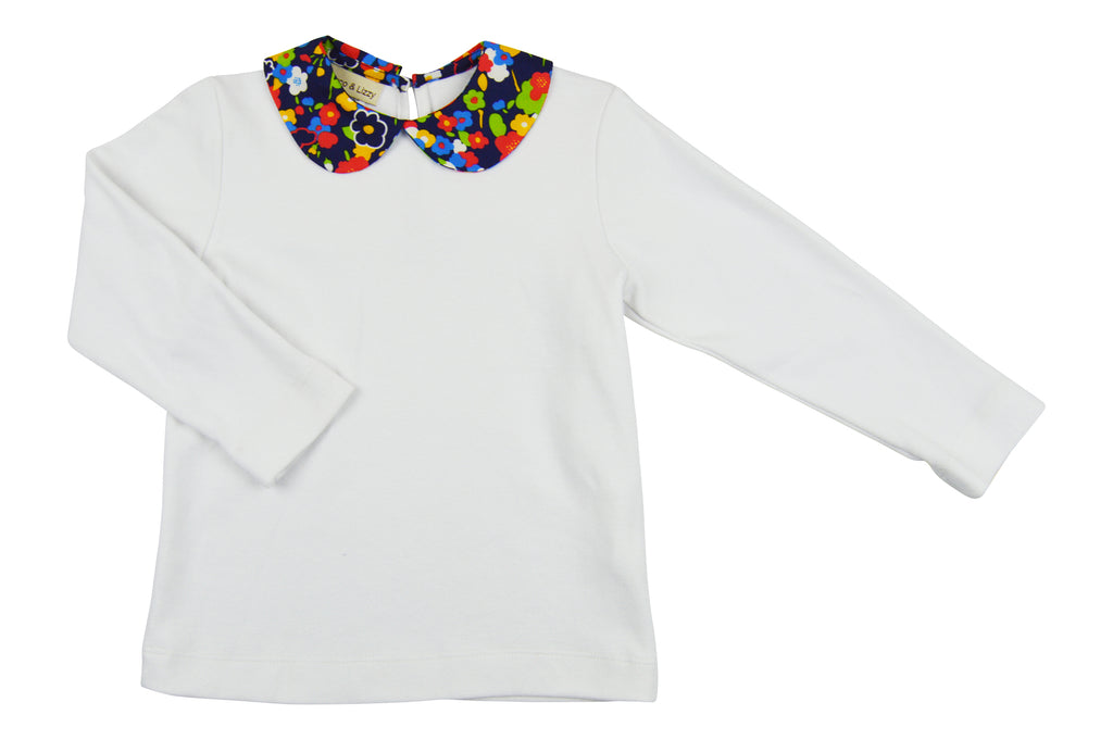 Katherine White Cotton Knit Floral collar Top - Little Threads Inc. Children's Clothing