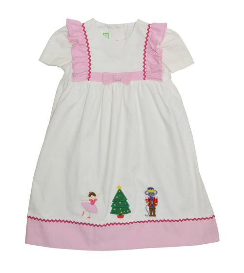 Nutcracker appliqued off white and pink cord dress