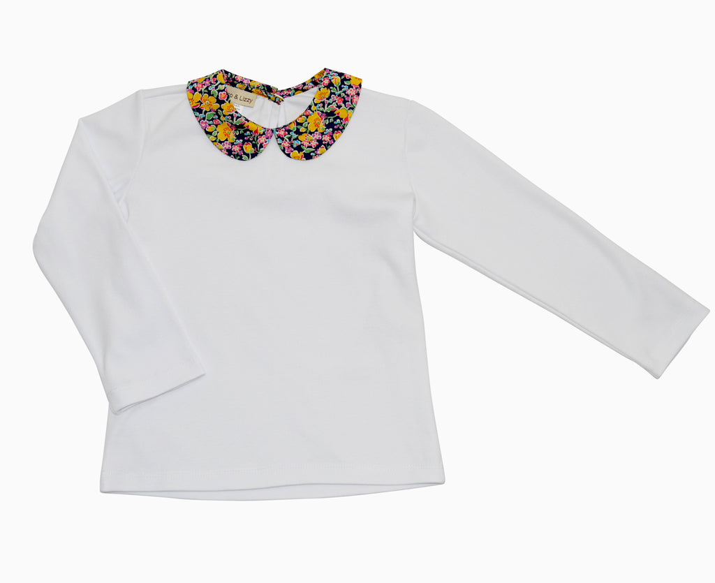 Liberty of London Collar white knit cotton top - Little Threads Inc. Children's Clothing