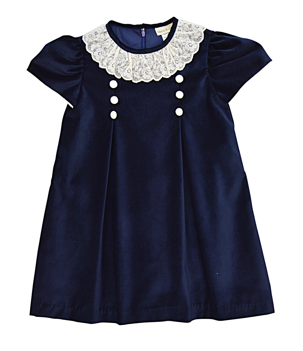 Sienna Navy Velvet Dress - Little Threads Inc. Children's Clothing