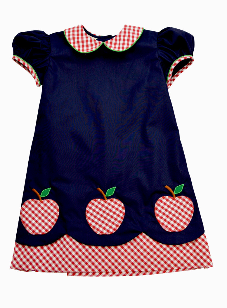 Little Threads Back to School Apples appliqued dress