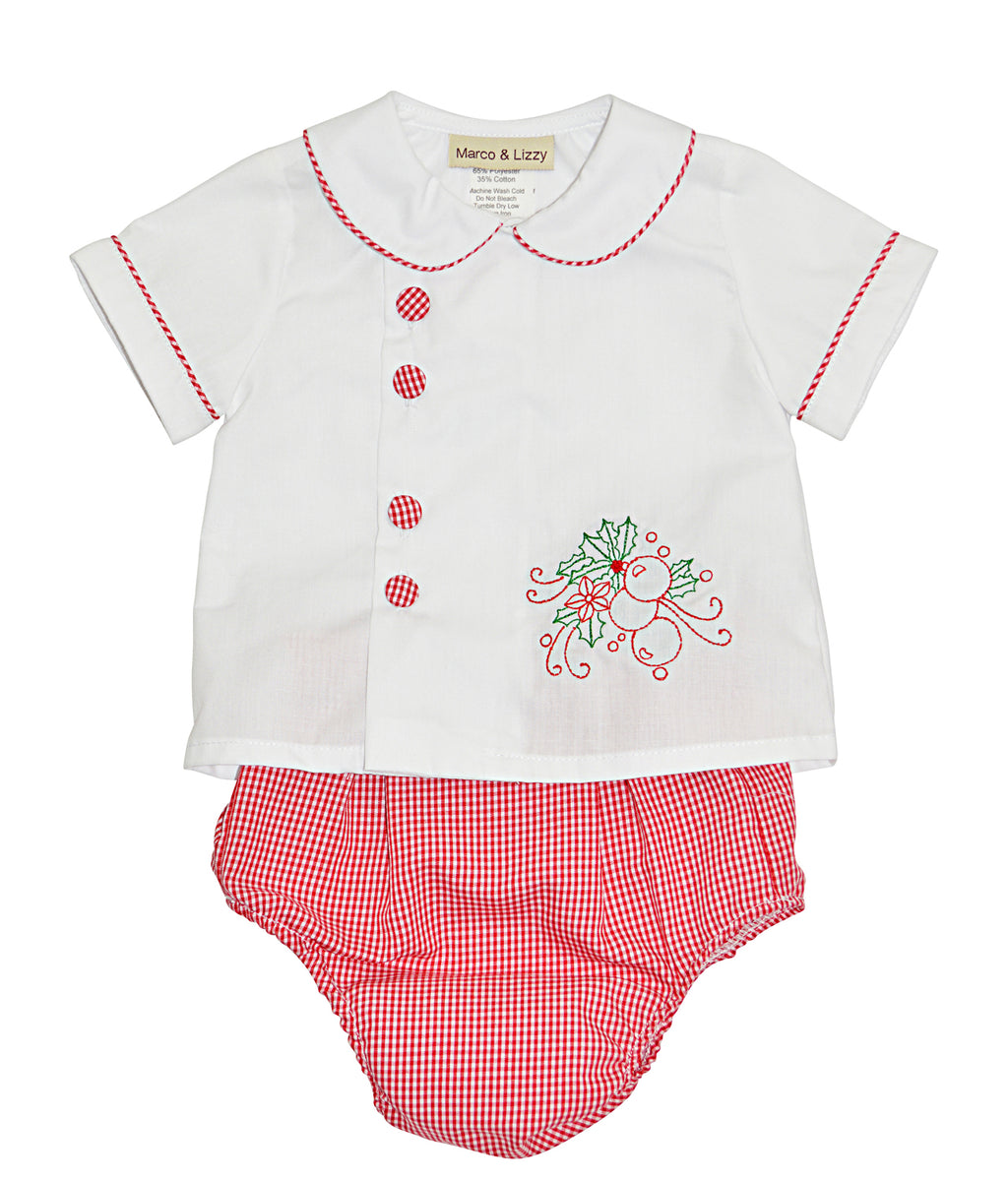 Christmas  baby shirt and diaper cover set - Little Threads Inc. Children's Clothing