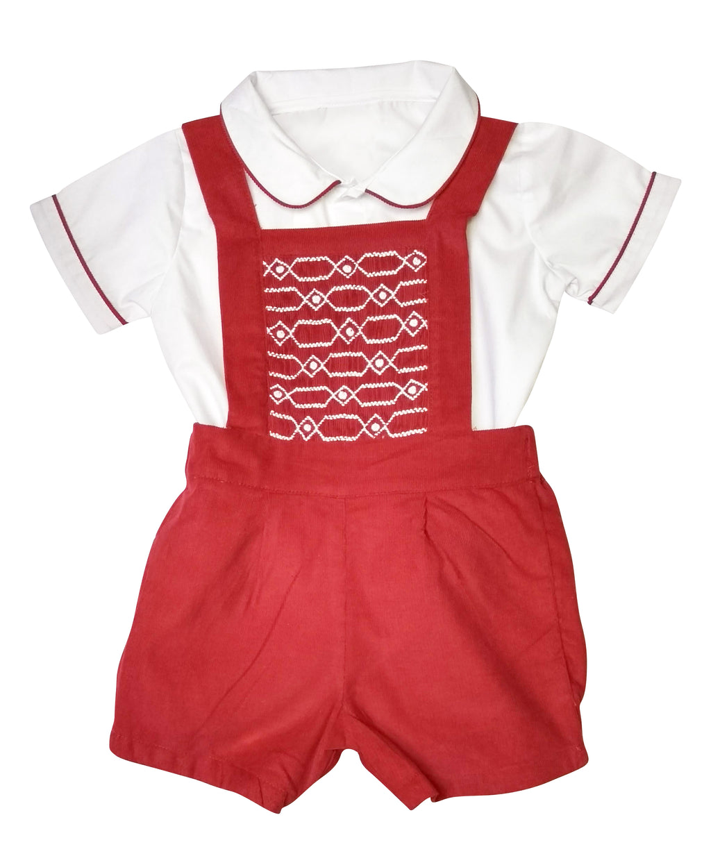 Red Cord Hand Smocked Boy's Overall Set - Little Threads Inc. Children's Clothing