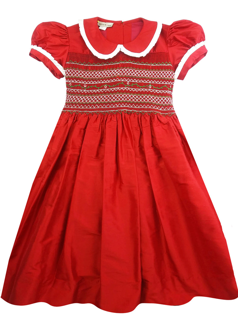 Red Silk hand Smocked dress