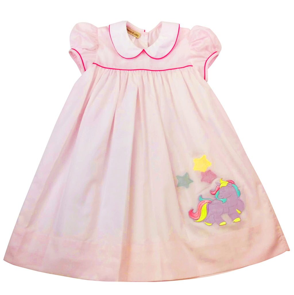Unicorn Embroidery girls dress - Little Threads Inc. Children's Clothing