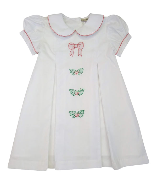 Christmas Bows Girl's A Line Batiste Dress - Little Threads Inc. Children's Clothing
