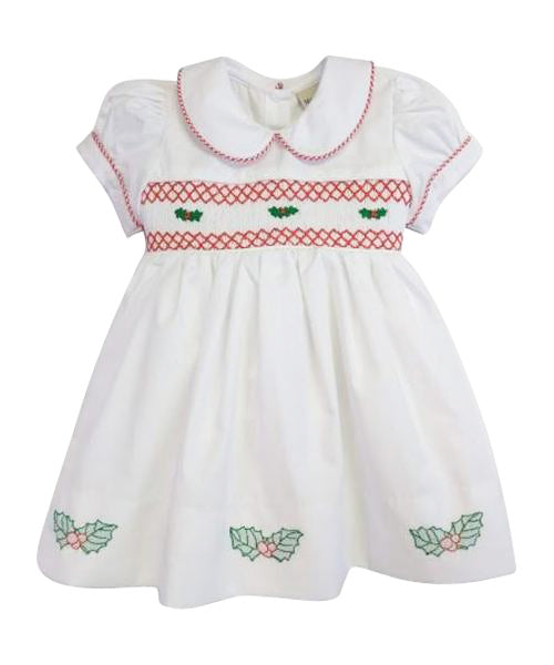 Christmas Hollies Girl's Smocked Dress - Little Threads Inc. Children's Clothing