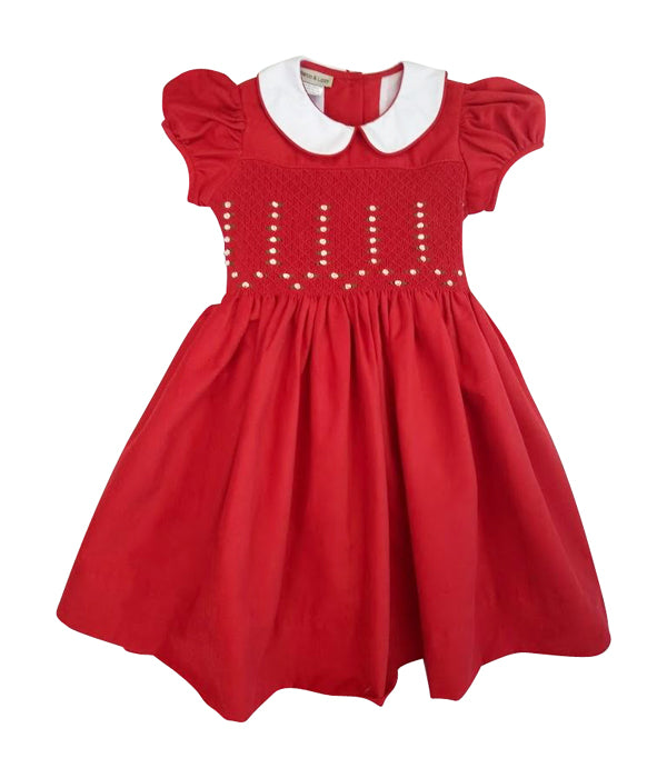 Girl's Red Christmas Corduroy Smocked Dress - Little Threads Inc. Children's Clothing