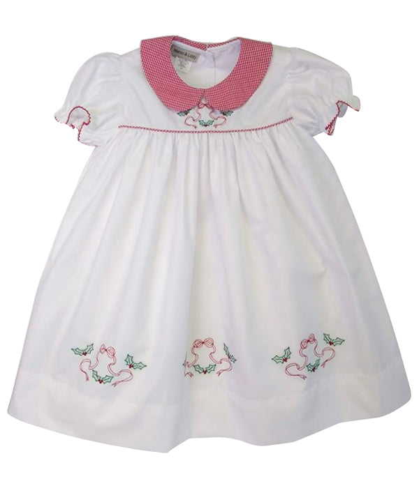White Christmas Embroidered Girl's Dress - Little Threads Inc. Children's Clothing