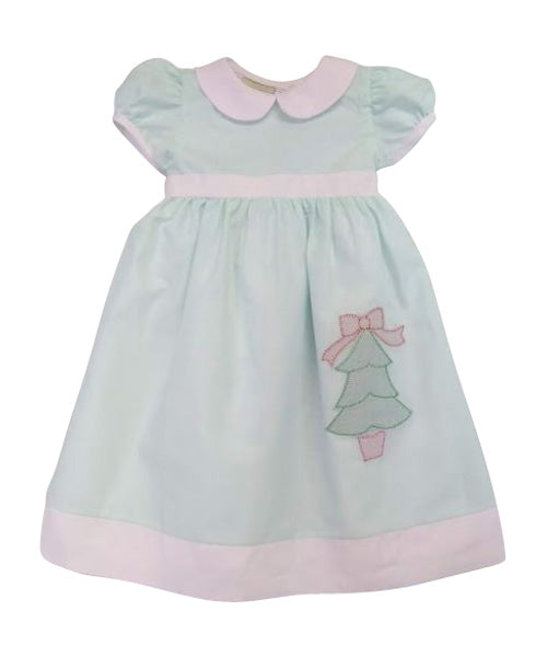 Girl's Mint and Pink Batiste Christmas Dress - Little Threads Inc. Children's Clothing