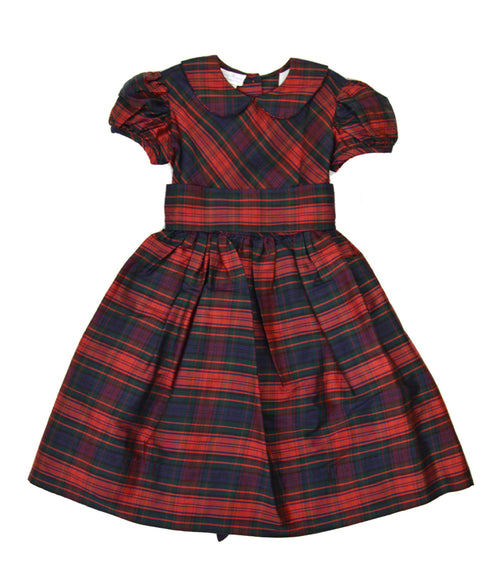 Plaid Silk Dress With Silk Sash