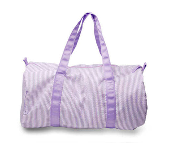 Lavender stripe Seersucker Duffle bag for monograming - Little Threads Inc. Children's Clothing