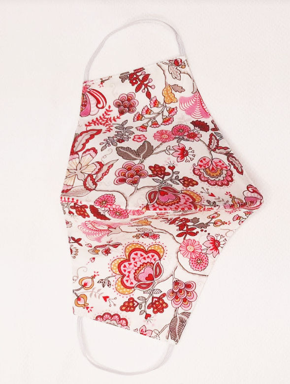 Pink Floral  Mabelle Liberty of London print  mask - Little Threads Inc. Children's Clothing