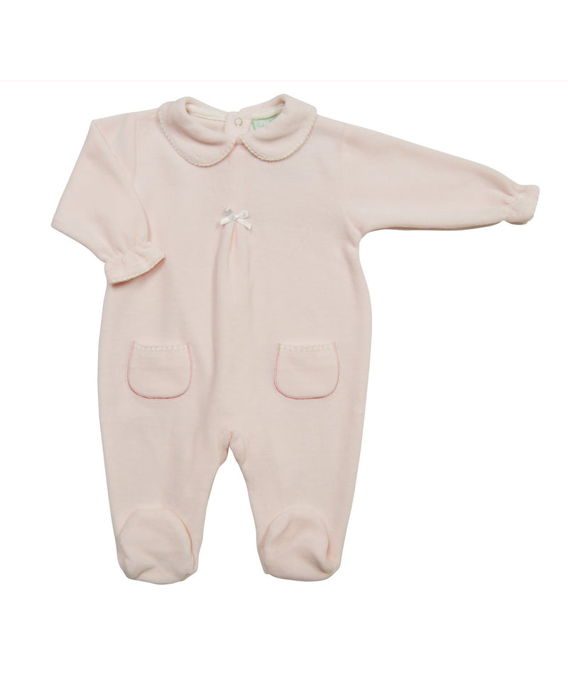Pink Velour Footie with Pockets - Little Threads Inc. Children's Clothing